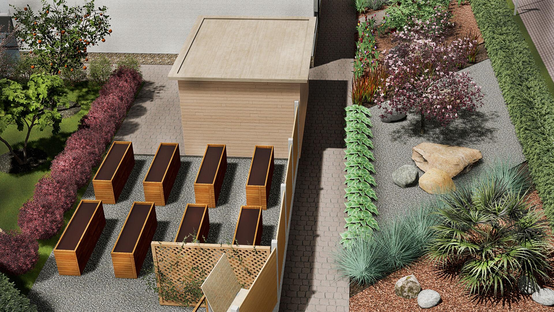 Huerta y jardín frente de la casa