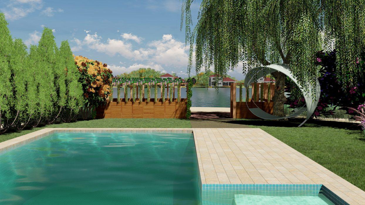 piscina, lago, glorieta